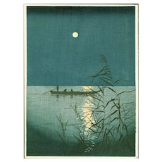 Shoda Koho - Moonlit Sea - Hasegawa Night Scene Japanese Woodblock Print - (Wood block print, woodcut)