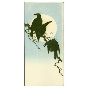 Shoda Koho - Three Crows and Full Moon - Japanese Woodblock Print -