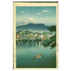 Tsuchiya Koitsu - Mt. Fuji From Numazu Harbour - Japanese Woodblock Print (Woodcut)