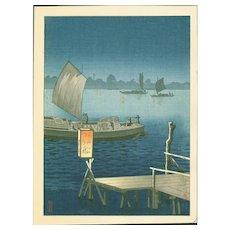 Tsuchiya Koitsu - Edogawa - Rare Japanese Woodblock Print (Woodcut)
