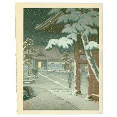 Tsuchiya Koitsu - Takanawa Sengakuji Temple - Rare Japanese Woodblock Print (Woodcut)