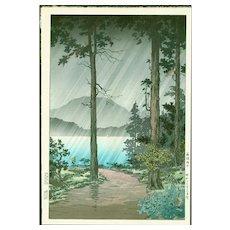 Tsuchiya Koitsu  - Rain at Lake Hakone - Japanese Woodblock Print (Woodcut)