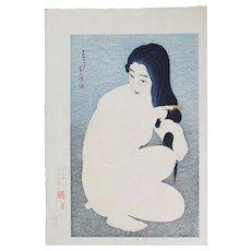 Torii Kotondo - Combing in the Bath - Japanese Woodblock Print