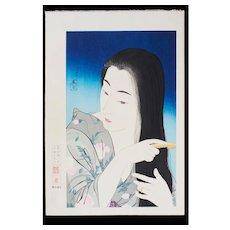 Torii Kotondo Japanese Woodblock Print - Combing Hair