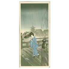 Nishimura Hodo - Summer Rain - Rare Japanese Woodblock Print