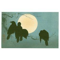 Ogata Korin - Crows and Moon - Japanese Woodblock Print  (Wood block print, woodcut)