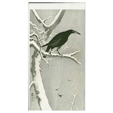 Ohara Koson - Jungle Crow on a Snowy Branch - Japanese Woodblock Print (Woodcut)