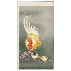 Ohara Koson  - Rooster and Two Chicks - Japanese Woodblock Print (Woodcut)