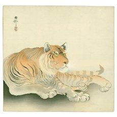 Ohara Koson - Reclining Tiger - Japanese Woodblock Print