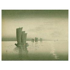 Ohara Koson - Fishing Boats - Japanese Woodblock Print (Wood block print, woodcut) - Rare