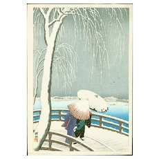 Ohara Koson (Shoson) - Snow On Willow Bridge - Japanese Woodblock Print (Woodcut)