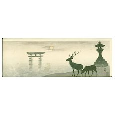 Ohara Koson - Torii, Lantern and Deer - Rare Japanese Woodblock Print (Woodcut)