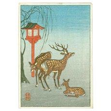 Ohara Koson - Deer and Lantern - Rare Japanese Miniature Woodblock Print (Woodcut)