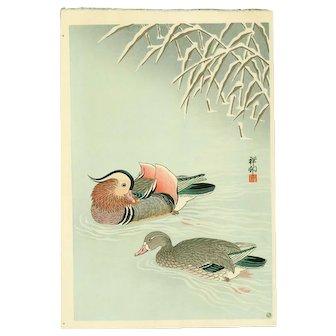 Ohara Koson (Shoson) Japanese Woodblock Print  - Mandarin Ducks in Snow