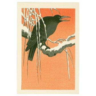 Ohara Koson - Crow on Snowy Bough - Japanese Woodblock Print