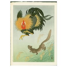 Ohara Koson (Hoson) - Rooster and Weasel - First Edition Japanese Woodblock Print (Wood block print, woodcut)