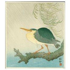 Ohara Koson (Shoson) - Night Heron in Rain - Japanese Woodblock Print (Wood block print, woodcut)