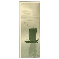 Ohara Koson - Fishing Boats at Sea - Japanese Woodblock Print - Kokkeido