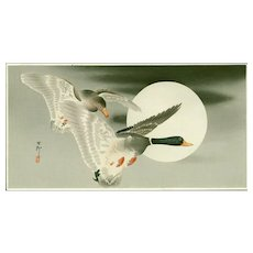 Ohara Koson - Mallards in Flight and Moon - Japanese Woodblock Print