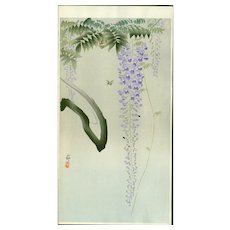 Ohara Koson - Insect and Flowering Wisteria - Japanese Woodblock Print