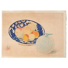Ito Shinsui - Peaches and Melon - 1939 Japanese Woodblock Print