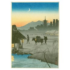Takahashi Shotei  - Returning Home, Evening - Japanese Woodblock Print  (Wood block print, woodcut)