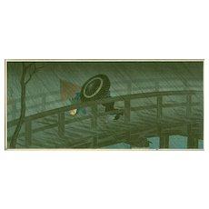 Takahashi Shotei  - Night Shower Izumi Bridge - Japanese Woodblock Print (Woodcut)