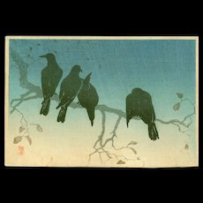 Takahashi Shotei  - Crows on a Cold Night -Japanese Woodblock Print (Woodcut)