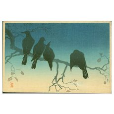 Takahashi Shotei - Crows on a Cold Night - Japanese Woodblock Print (Wood block print, woodcut)