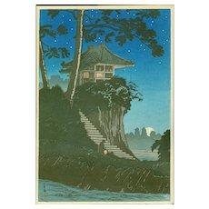 Takahashi Shotei - Moonrise at Tokumochi - Japanese Woodblock Print (Wood block print, woodcut)