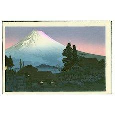 Takahashi Shotei - Mt. Fuji From Mizukubo - Japanese Woodblock Print (Wood block print, woodcut)
