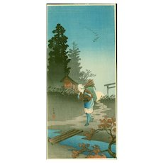 Takahashi Shotei -Woman Returning on Autumn Evening - Japanese Woodblock Print -