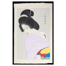 Jinbo Tomoyo - Bijin in Lavender Kimono - Japanese Woodblock Print (Wood block print, woodcut)