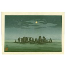Yoshijiro Urushibara - Stonehenge in Moonlight - Rare Japanese Woodblock Print -