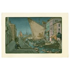 Andrew Kay Womrath and Yoshijiro Urushibara - Venice at Night - Japanese Woodblock Print  (Wood block print, woodcut)