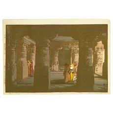 Hiroshi Yoshida Japanese Woodblock Print - No. 3 Cave Temple in Ellora -  (Wood block print, woodcut)