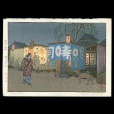Toshi Yoshida - Supper Wagon - Japanese Woodblock Print