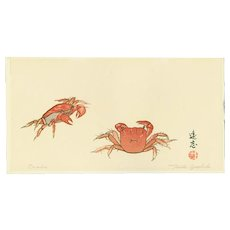 Toshi Yoshida - Crabs 1- 1925 Japanese Woodblock Print (Woodcut)