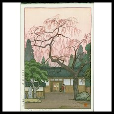 Toshi Yoshida - Cherry Blossoms By the Gate - Japanese Woodblock Print (Woodcut)
