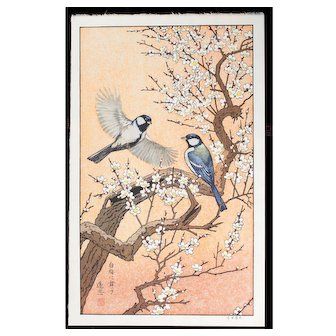 Toshi Yoshida  Birds in Spring - Plum Tree - Japanese Woodblock Print -