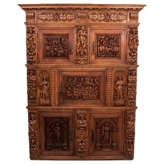 A richly carved sideboard from around 1900.