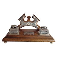 English Inkstand Regency Oak and Silver Plate