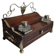 Victorian Oak, Brass, and Footed Inkstand with Ink Bottles and Drawer