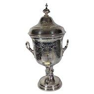 Victorian Silver Plate Engraved Samovar Urn, Shaw & Fisher, Sheffield