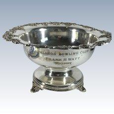 Scottish Bowling Club Silver Plate Trophy Bowl
