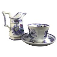 Polychrome English Staffordshire Three Piece Handleless Cup, Saucer and Jug, C. 1840