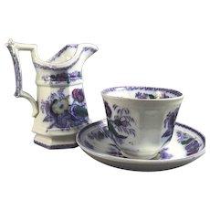 Polychrome English Staffordshire Three Piece Handleless Cup, Saucer and Jug, C. 1840