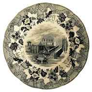English Black and White Transfer Ware European Scenery