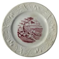 1860 English Staffordshire Red and White Transfer Ware Child's Plate