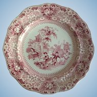 English Staffordshire Red Transferware Plate    Davenport 1820-1860